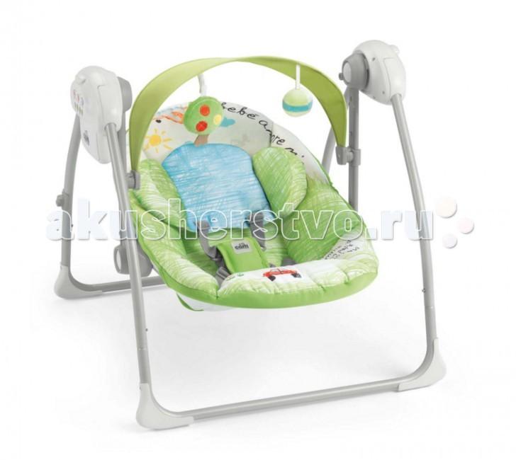 CAM Шезлонг-люлька SonnolentoШезлонг-люлька SonnolentoШезлонг-люлька Sonnolento предназначена для детей весом до 9 кг.  Характеристики:  - регулируемая спинка в 2 положениях,  - мягкое тканевое покрытие,  - мягкий подголовник,  - пятиточечные ремни безопасности,  - летний козырек от солнца с двумя съёмными игрушками регулируется по высоте в 2 позициях,  - с тремя регулируемыми скоростями,  - автоматическим выключением (8-15-30 мин.),  - 5 успокаивающих колыбельных,  - 3 мелодии со звуками природы,  - регулируемый звук,  - ножки с нескользящими резиновыми вставками,  - с питанием от батареек (4 батареи - 1,5 вольт).   Возможно использовать как колыбель путем блокировки сидения.  Тканевая накидка полностью снимается, стирается при температуре 30°C.  Шезлонг компактно складывается.  Яркая, презентабельная упаковка.   РАЗМЕРЫ И ВЕС: Размеры в разложенном виде: 61,5–64–58 см (Д-Ш-В)  Размеры в сложенном виде: 61,5-26-63 см  ВЕС: 4 кг  Безопасность - Соответствует стандарту безопасности EN 16232 - Для малышей весом до 9 кг - Пройдены все тесты на безопасность для каждого электрокомпонента - Пройден тест на стабильность для компонента – качели  - Проверенная всесторонняя устойчивость изделия во избежание риска переворачивания шезлонга с малышом внутри - Тест на самопроизвольное складывание: возможность самопроизвольного складывания исключена благодаря механизму безопасности - Нескользящие прорезиненные упоры на основании шезлонга - Абсолютно безопасные, нетоксичные, не содержащие фталат материалы (соответствие стандарту 20005/84/CE)<br>