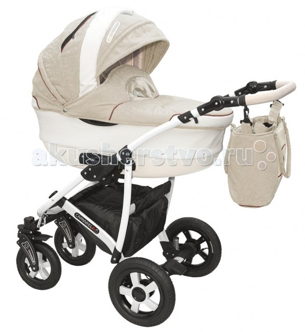Коляска Camarelo Carmela 2 в 1Carmela 2 в 1Коляска Camarelo Carmela 2 в 1 разработана специально для детей от самого рождения до 3х лет. Модель выполнена из высококачественных современных материалов, отличается стильным внешним видом, надувными колесами и современной конструкцией . Включает в себя комфортную люльку-переноску для новорожденных и прогулочный модуль для детей в возрасте от полугода. В коляске Camarelo Carmela 2 в 1 объединились все самые удачные детали, необходимые для удобства мамы и малыша при любых погодных условиях.  Люлька: высококачественные современные материалы отличная вентиляция внутри коляски просторная люлька из пластика с регулируемым подголовником возможность установки в двух положениях с противоположным направлением ручка для переноса люльки  защитный капор со смотровым окошком съемная подкладка люлька дополнена матрасиком и утепленным чехлом  Прогулочный блок: 3 положения спинки, включая горизонтальное 5-ти точечные ремни безопасности защитный бампер регулируемая по высоте подножка съемный капюшон чехол для ножек  Шасси: возможность установки автокресла надежная устойчивая конструкция рамы маневренность и отличная проходимость хорошая амортизация надувные колеса на подшипниках передние колеса поворотные, с функцией фиксации 5 уровней высоты ручки корзина для покупок  В комплекте: шасси люлька прогулочный блок сумка для мамы дождевик москитная сетка  внутренние размеры люльки: длина — 85 см, ширина — 37 см ширина сидения: 32 см<br>