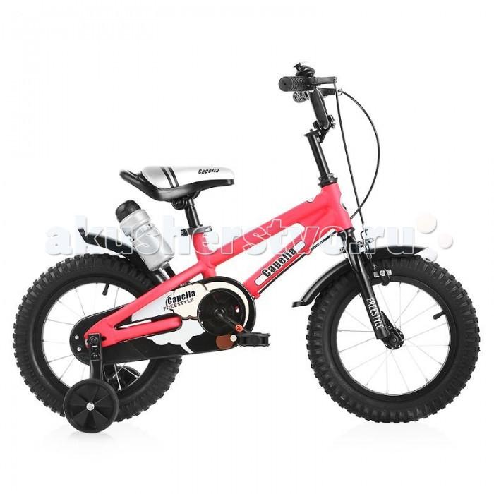 Велосипед двухколесный Capella S-14S-14Новый велосипед известного бренда Capella, яркий и стильный, разработан для детей от 4 до 7 лет.  Надувные резиновые колеса диаметром 14 дюймов (35,5 см), с крупным протектором, обеспечивает хорошее сцепление с дорогой и проходимость.  Велосипед оборудован поддерживающими колесами с усиленными креплениями, которые защитят вашего ребенка от падения. Как только ребенок научится держать равновесие, родители могут снять поддерживающие колеса и получить полноценный 2-колесный велосипед.  Удобное сидение. Сидение и руль регулируются по высоте, что позволит использовать велосипед несколько сезонов.  Руль оснащен противоскользящими рифлеными ручками. Управлять велосипедом по настоящему комфортно.  На руле звонок и 2 ручных тормоза на переднее и на заднее колесо.  Педали с рифленой поверхностью, не дадут соскальзывать ногам.  Цепь на заднее колесо закрыта защитным кожухом. Это делает велосипед безопасным при езде.  Над задним колесом крепится бутылочка для воды.<br>