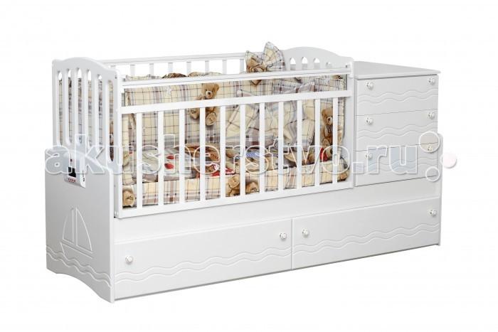 Кроватка-трансформер Daka Baby Укачай-ка 03 (поперечный маятник)Укачай-ка 03 (поперечный маятник)Кровать-трансформер Daka Baby Укачай-ка 03. Это мебель нового поколения, которая растет вместе с вашим ребенком, учитывая все потребности каждого конкретного возрастного периода.  Начнем с первых дней жизни малыша: в его расположении - удобный трансформер с маятниковым механизмом поперечного качания. А для удобства мамы при уходе за новорожденным кроватка оборудована комодом с тремя большими ящиками на роликовых направляющих. Кровать оборудована дном с возможностью регулировки его высоты в двух уровнях. Это существенно облегчает укладывание в ложе кроватки младенца с первых дней жизни, а также малыша постарше. Стенка кроватки опускается, превращая кровать в мини-диванчик.  Дети быстро растут, и приходится со временем менять мебель в детской. Но не с кроваткой Daka Baby Укачай-ка 03! Она трансформируется в подростковую кровать с просторным спальным местом 170х60 см, экономя ваше время и бюджет. А в дополнение к кровати вы получаете письменный стол и тумбу!  Особенности: Система естественного укачивания. Благодаря запатентованной технологии механизма естественного укачивания, кроватка Укачай-ка бесшумно и безопасно укачает ребенка. Кровать произведена из высококачественного ЛДСП, отвечающего стандартам качества и безопасности. Маятниковый механизм для простоты укачивания. Реечное вентилируемое дно. Два больших ящика на роликовых доводчиках. Острые углы отсутствуют в целях безопасности. Нет мелких и острых деталей и фурнитуры. Опускающаяся передняя стенка. Возможность установки пеленального комода с любой стороны. Два положения дна в кроватке для малыша до 3-х лет. Удобный пеленальный комод с тремя вместительными ящиками на доводчика.  Особенности системы укачивания: Система естественного укачивания Еще находясь в утробе, малыш привыкает к естественному ритму укачивания и воспоминания об этом программируется в памяти на подсознательном уровне. Многочисленные исследования Ин