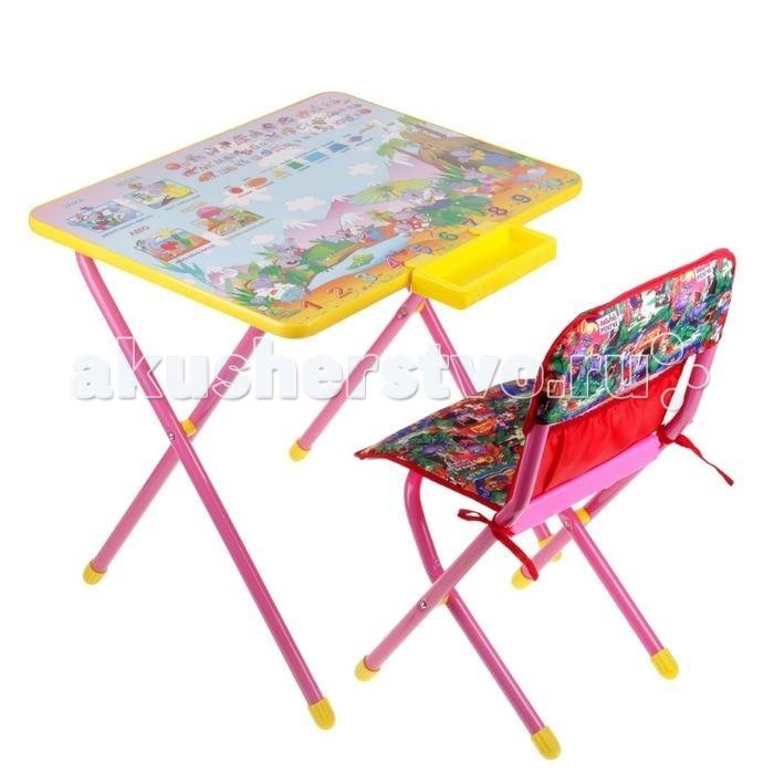 Дэми Набор мебели №3 ЛимпопоНабор мебели №3 ЛимпопоНабор мебели Дэми №3  для детей от 3 до 8 лет (рост 1.3-1.45 м). Подойдет для кормления, игр и обучения ребенка. Поверхность столешницы ламинированная, что позволяет стол легко чистить. Яркий рисунок поможет малышу изучить буквы и цифры. Набор мебели Дэми №3 Веселые гномы легко складывается и не занимает много места. Набор разработан и изготовлен в соответствии с обязательными нормами и требованиями к детским товарам.  Размеры: стол - 45х60х52 см стул - 30 см (h сиденья), 55 см (h верхнего края спинки)<br>