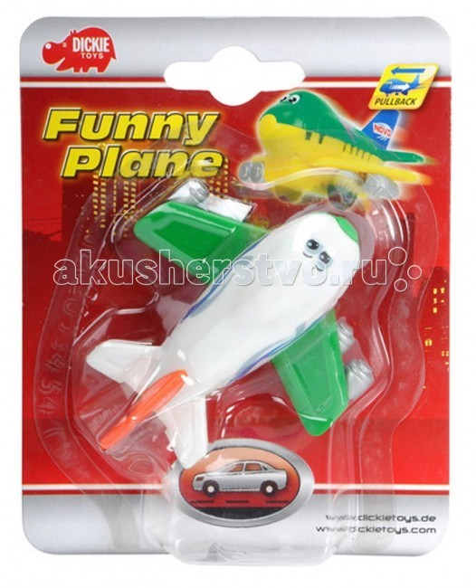 Dickie Веселый самолетВеселый самолетВеселый самолет Dickie — отлично смоделированная игрушка для маленьких пилотов. Отличается хорошей детализацией и качественным видом.   Самолетик оснащен инерционным механизмом, что придает игре особую динамику.  Игрушка сделана из высококачественных материалов и будет радовать вашего малыша максимально долгий срок.<br>