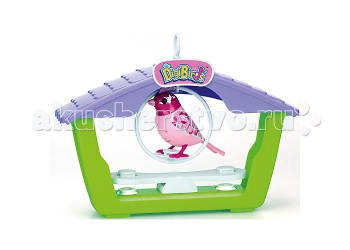 Интерактивная игрушка Digibirds Птичка с домикомПтичка с домикомПтичка Digibirds с домиком - это уникальная интерактивная игрушка, которая непременно порадует вашего ребенка.   DigiBirds - интерактивные птички, которые ведут себя как настоящие! Они двигаются, воспроизводя узнаваемые повадки птиц, и даже могут петь. Чтобы активировать птичку, просто подуйте на нее, выбрав одиночный режим, а чтобы она начала петь, свистните в свисток, встроенный в кольцо - вы услышите одну из 55 записанных мелодий.   Птиц можно синхронизировать! Выберите режим хора и разместите нескольких птичек на расстоянии не более 15 см друг от друга - они будут петь все вместе, а корифеем хора станет та птица, которую включили первой. Таким образом можно синхронизировать неограниченное количество птиц.    В наборе:    птица  кольцо-свисток  качели  домик  наклейка-корона  3 x AG13 / LR44 (миниатюрные)   Размер птички: 9х7,5 см<br>