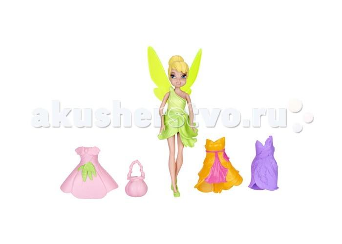 Disney Фея с 3 платьямиФея с 3 платьямиФигурка Disney Фея с 3 платьями  В наборах – феи Дисней из мультфильма «Тайны зимнего леса» с комплектом дополнительных платьев и аксессуаров.  У Динь-Динь есть 4 платья на выбор – зеленое, розовое, оранжевое и сиреневое, а также очаровательная розовая сумочка.  Фея Незабудка может похвастаться не менее богатым гарнитуром – ее можно одеть в одно из 4-х платьев. Вся одежда Незабудки соответствует ее статусу Зимней Феи – все платья выполнены в розово-голубых тонах, а розовая сумочка отлично подойдет к любому из них.  У кукол подвижные ручки и ножки Платья легко надеваются и снимаются, благодаря особой конструкции куколок  Высота фигурок – 11 см<br>
