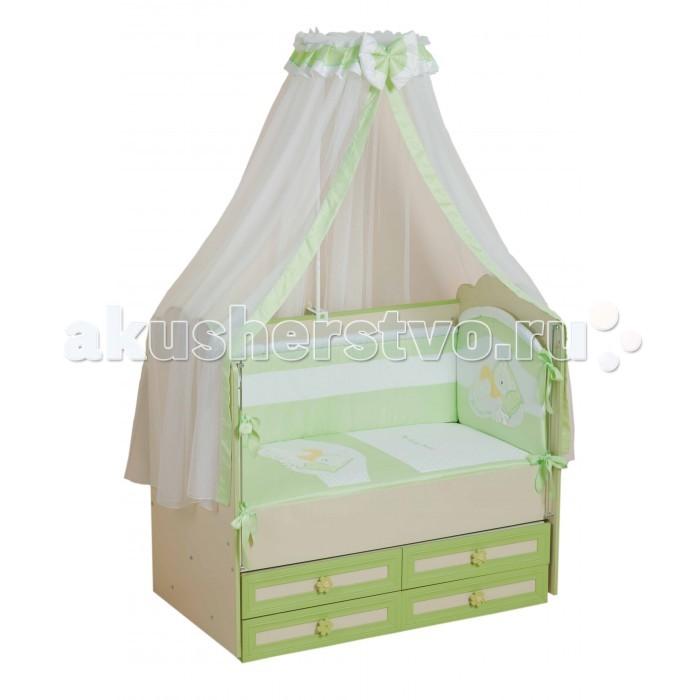 Комплект для кроватки Селена (Сдобина) Мой маленький друг (7 предметов)Мой маленький друг (7 предметов)Комплект не вызывает аллергических реакций и предназначен для малышей с рождения. Хлопковое белье способствует улучшению терморегуляции. Украшен вышивкой-аппликацией.  Комплект в детскую кроватку «Мой маленький друг», 7 предметов:   одеяло 110 х 140 см.  подушка 40 х 60 см.  простыня с резинкой 60 х 120 см.  наволочка 40 х 60 см.  пододеяльник 110 х 140 см.  бортик - состоит из двух частей 40 х 120 см и 40 х 60 см, на каждой из которых съемный чехол  балдахин   Материал: хлопок Наполнитель: холлкон<br>