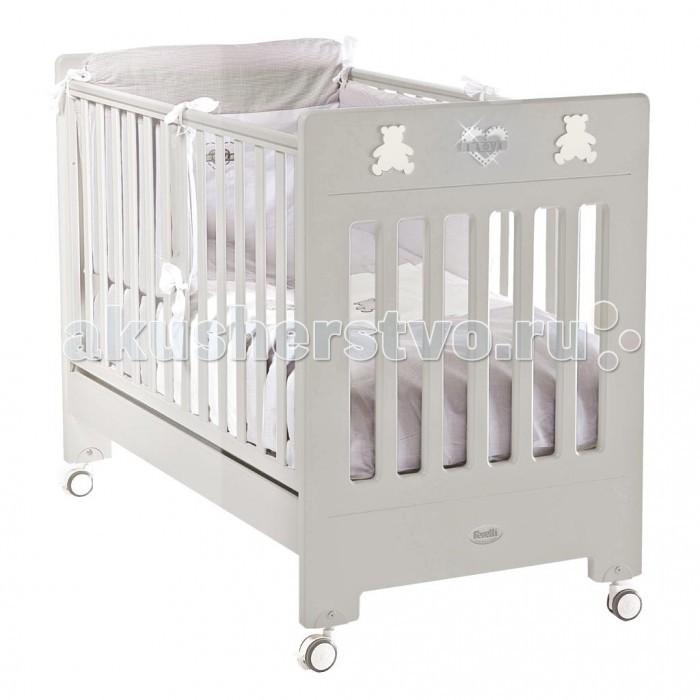 Детская кроватка Feretti DesireDesireДетская кроватка Feretti Desire подойдет Вашему малышу.  Красивый и оригинальный дизайн порадует Вас и вашего малыша. Кроватка изготовлена из массива бука. При изготовлении используются только натуральные и нетоксичные лаки, краски и клей.  Особенности: - Рейки обеспечивают надежное крепление матрас - Два уровня положения дна - Две регулирующийся стенки - Механизм регулировки борта одной рукой - Бортики снабжены силиконовыми накладками - Выдвижной ящик для постельного белья или игрушек - Съёмные, самоцентрирующиеся колеса, снабжены 2 тормозами - Украшена аппликацией - Колёса съёмные, самоцентрирующиеся колеса, снабжены 2 тормозами - Размер ложа 125х65 см. - Производство: Италия<br>