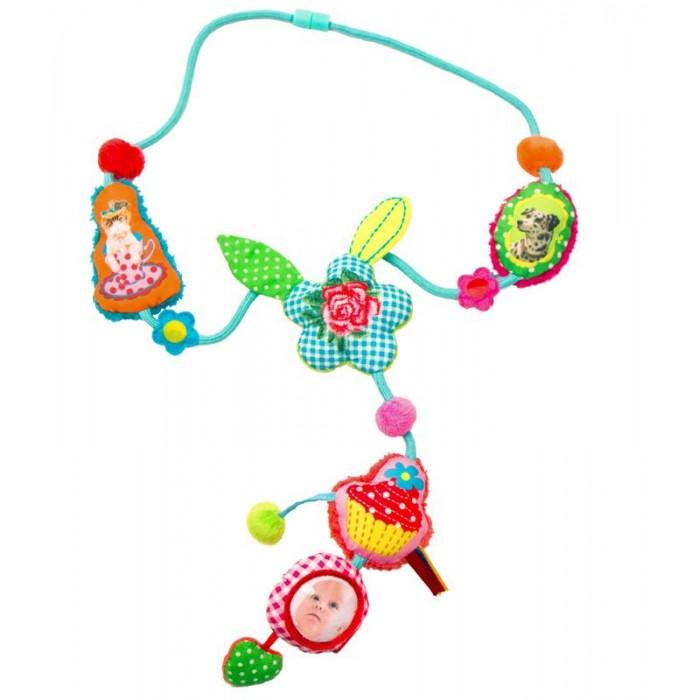 Развивающая игрушка Dushi Ожерелье Mother&amp;ChildОжерелье Mother&amp;ChildИгрушка, которая развивает, маму украшает и ей помогает!  Впервые в России компания Dushi представляет коллекцию бус для мам «Mother&child» («Мама&малыш»)! Эта мудрая и оригинальная разработка дизайнеров была сразу оценена по достоинству мамами во всем мире! Стильное украшение - полезная игрушка облегчает непростые заботы мамы о малыше в различных ситуациях.  Отличное решение для любознательных ручек, которые всегда тянутся к дорогим маминым украшениям или родинке на шее!  Даже самый непоседливый кроха моментально увлечется игрой с нежными текстильными частями ожерелья, различными полосочками и ярлычками, маленьким зеркальцем или мягкой звездочкой, которую так увлекательно щупать пальчиками.  Яркие цвета, крупные образы, мягкая ткань и различные звуки будут привлекать внимание ребенка в течение долгого времени. Больше никакого напряжения в ожидании приема у доктора или смущения в очереди в супермаркете. Кроме того ожерелье выглядит так стильно и привлекательно, что даже самые модные мамы захотят иметь такое! Что говорить о маленьких красотках, которые всегда подражают своей маме и желают быть такой же модной и красивой, как она? А ваши друзья, у которых есть активный и любознательный малыш, будут очень рады такому оригинальному и нужному подарку!  Какой маме не знакома следующая ситуация: именно в тот момент, когда нужно, чтобы малыш тихо посидел на ручках, в коляске или слинге и немного подождал, он выдает бурю эмоций и не хочет более пребывать в умиротворенном состоянии ни секунды! Что обычно делает мама? Чтобы выиграть всего несколько минут, малышу вручается мамин серебряный браслет, модное ожерелье или брелок с ключами. Безусловно, решение практичное, но не идеальное и тем более не безопасное для крохи. Вот почему дизайнеры команды Dushi, которые сами являются мамами, придумали специальную серию колье «Мама&малыш».  Мамам, которые используют слинги, знакомы подобные ожерелья, которые час