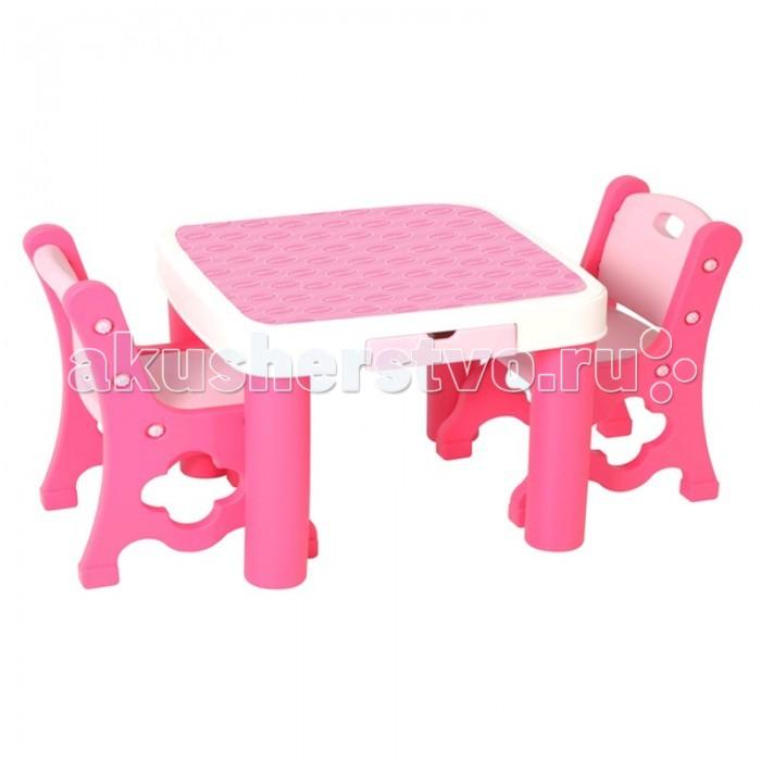 Edu-Play Детский стол с двумя стульями TB-9945Детский стол с двумя стульями TB-9945Комплект изготовлен из высококачественного пластика, а края изделия закруглены, что делает их безопасными. Если к вашему ребенку приходят гости, обязательно вручите ему этот замечательный комплект детской мебели. Отличное дополнение к детскому уголку, как в домашних условиях, так и в условиях дачи и загородного дома.  Характеристики: высококачественная пластмасса, предназначенная для производства предметов детской группы обработка исключает различные заусенцы и шероховатости предназначен для детей от 1 года оригинальный дизайн стол для рисования, обеденный стол, стол для лепки из пластилина, стол-парта и т.д. в столе есть ящик, куда поместятся все принадлежности для рисования и лепки стол легко складывается и собирается устойчивая конструкция стула с удобной спинкой на 4 ножках комплект можно использовать как дома, так и на улице прост в установке и использовании, легко содержать в чистоте, так как может подвергаться влажной обработке   В комплекте: стол 2 стула  Размеры: стол (дхшхв)  61x61x51 см стул (дхшхв)  37x37x59 см высота до сиденья  31 см  Вес: 9,8 кг<br>