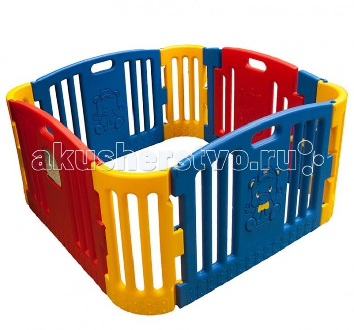 Edu-Play Игровой комплекс цветнойИгровой комплекс цветнойМанеж Edu-Play цветной, игровая-зона - неотъемлемая часть детской комнаты. Можно использовать с ясельного возраста. Ребенок находится  в безопасности, даже если вы его не видите. И к возрасту 6-7 лет манеж послужит игровой зоной вашему ребенку.  Любую игровую горку можно разместить рядом с манежем, наполнить манеж шариками и получится готовая игровая площадка для вашего ребенка. Он будет скатываться с горки прямо в манеж с шарами.  В комплекте: Зеркальце на стенке манежа Панели - 6 шт Дверная панель с нарисованным Мишкой 1 шт Дверная рама 1 шт Дверной замок - 1 набор Набор наклеек для украшения<br>