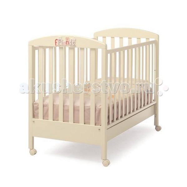 Детская кроватка Erbesi FlicFlicКлассический романтичный вариант, который хорошо впишется в спокойный интерьер пастельных тонов. Это маленькое уютное гнездышко для настоящих принцев и принцесс.  Двухуровневое ложе поможет использовать кровать долгое время, подстраивая ее под нужды ребенка, в дальнейшем ограничительный бортик можно снять и получится милый небольшой диванчик. В этом роскошном гнездышке малыш будет видеть самые нежные сны.   Материалы: боковые решетки, основание – бук краски только на водяной основе - гипоаллергенные и нетоксичные, которые предохраняют здоровье детей и природу, гарантируют однородное и прочное покрытие, усиливают природные качества дерева  Основные характеристики: предназначена для детей от 0 до 5-ти лет все составные части и компоненты кроватки, во избежание порезов, царапин и ссадин, не имеют острых углов в кроватке используется ортопедическая сетка из деревянных планок или многослойной перфорированной фанеры (10 отверстий), обеспечивающей правильное потоотделение бортики кровати опускаются на 20-25 см один из бортиков снимается полностью, так что кровать может использоваться как диванчик дно кровати - двухуровневое снабжена 4-мя съемными поворотными колесами и двумя тормозами, которые позволяют передвигать и блокировать кроватку в полной безопасности большой выдвижной ящик в основании кроватки, оснащен металлическими направляющими с первоклассным скольжением и блокировкой во избежание невольного выпадения ящика  Размеры кроватки: внешние (дxшxв) 133х71х105 см внутренние (для матраса) (шxдxв) 125х65 см<br>