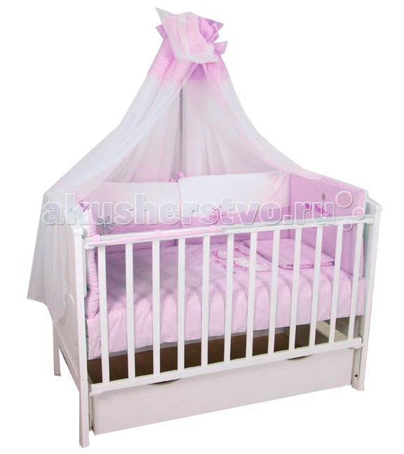 Комплект в кроватку Fairy Белые кудряшки 140х70 (7 предметов)