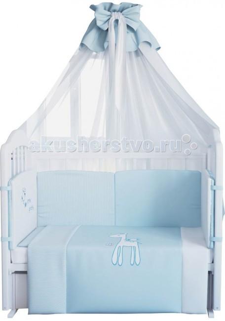 Комплект в кроватку Fairy Жирафик 140х70 (7 предметов)Жирафик 140х70 (7 предметов)Нежный комплект постельного белья в кроватку Fairy Жирафик из 7 предметов станет настоящим украшением любой детской и подарит малышу много сладких снов.   Бельё полностью безопасно и гипоаллергенно.  Белье выполнено из 100% хлопка, наполнитель — холлофайбер.  Комплектация: Борт: 420х43 см Штора балдахина: 180х400 см, вуаль Подушка: 40х60 см Одеяло: 110х140 см Наволочка: 40х60 см Простыня: 120х60 см Пододеяльник: 110х140 см<br>