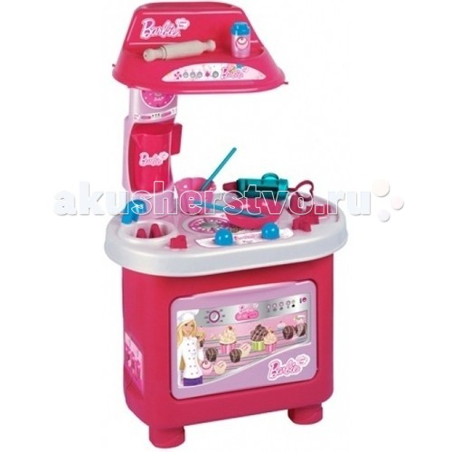 Faro Кухня BarbieКухня BarbieКухня Faro Barbie создана специально для маленьких сладкоежек . Здесь есть 2-хконфорочная плита с 2-мя регуляторами, раковина с краном, вытяжка и вместительная духовка.  Для приготовления тортов и пирожных в наборе есть 15 аксессуаров. Среди них шприц для крема с разными насадками, ложки для перемешивания, миска и форма для выпекания, а так же кувшин и скалка.  Малышка с удовольствием будет играть на этой кухне, воображая себя кондитером или мамой, которая готовит праздничный пирог. Набор способствует развитию координации и логического мышления.  Высота кухни: 80см    Размер кухни: 46х28х80см<br>