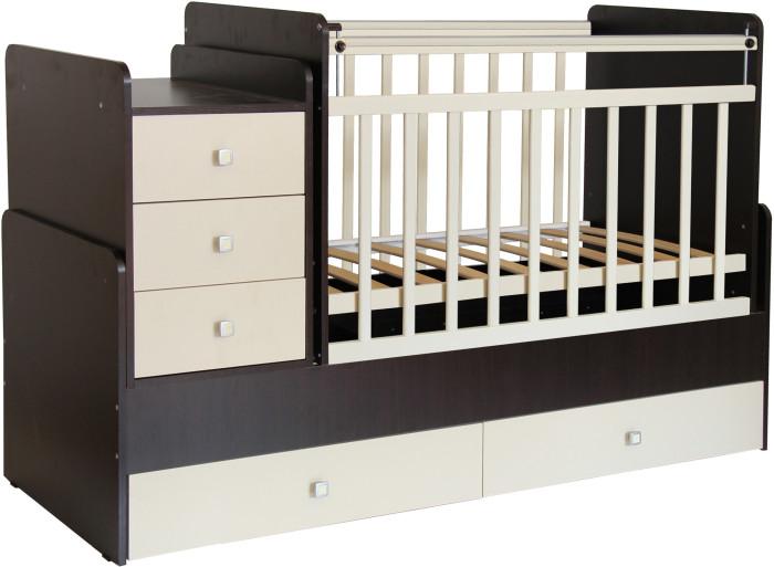 Кроватка-трансформер Фея 11001100Удобная трансформация в кровать для подростка, когда ребенок вырастет из простой кроватки.   Характеристики: сбоку расположен комод с местом для пеленания малыша; защитные бортики на комоде; три ящика с красивыми и эргономичными ручками; при изготовлении применяется массив березы + ЛДСП боковая перекладина опускается для легкого доступа к ребенку; маятник с механизмом поперечного качания; два положения уровня реечного дна; внизу кроватки два ящика; Матраса нет в комплекте!   Рекомендации: для детей с рождения и до 7-8 лет   Габариты: размеры кроватки : 108.5 х 173.2 х 63.6 см размер под матрас кроватки – 120 х 60 см размер для подростковой кровати -170 х 60 см размер тумбы: 41.6 &#215; 66 см состоит из двух коробок вес: 65 кг<br>