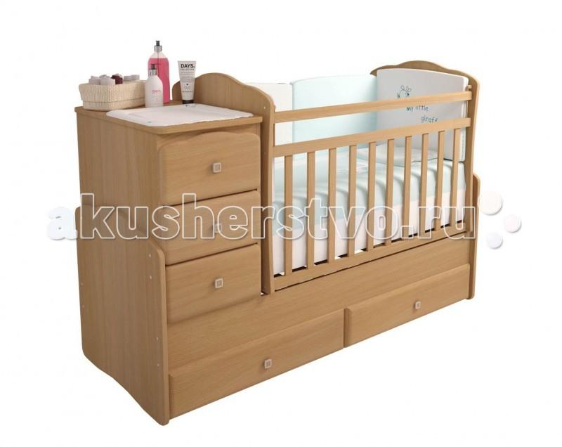 Кроватка-трансформер Фея 21502150Удобная трансформация в кровать для подростка, когда ребенок вырастет из простой кроватки.   Характеристики: в начале это детская кроватка в дальнейшем используется как подростковая кровать; компактный комод с тремя выдвигающимися ящиками; внизу кроватки два больших ящика для детских вещей; сделана из МДФ Kronospan + массив березы; боковая перекладина опускается; на верхних частях боковых стенок защитные накладки из ПВХ; уровень высоты ложе регулируется в 2 позициях; матрас в комплект не входит!   Габариты: размеры кроватки : 116х173.2х69 см размер под матрас кроватки – 120 на 60 см, для подростковой 170 на 60 см вес: 72 кг<br>