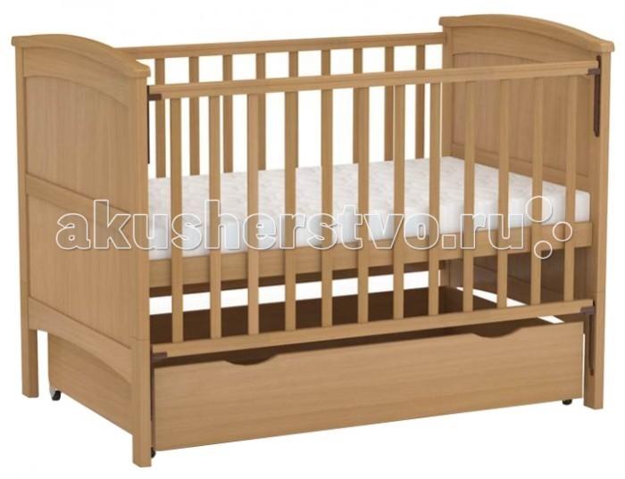 Детская кроватка Фея 811811Прекрасная кроватка ФЕЯ-811 обладает возможностью трансформации! Подходит детям с рождения, до 3 лет кроватка используется с боковыми ограждениями, а после того, как ребенок подрос - снимаются ограждения и нижние части спинок.  Особенности:   - Размер ложа: 70 х 140 см - «Автостенка» - механизм опускания одной рукой - 2 положения ложа - Ортопедическое основание - Накладка ПВХ - Выкатной ящик из ЛДСП в цвет кровати - Материал: массив березы<br>