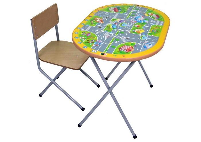 Фея Комплект детской мебели Досуг №202Комплект детской мебели Досуг №202предназначен для кормления, игр и обучения ребенка столешница - ЛДСП с цветной наклейкой легкий мобильный складной<br>