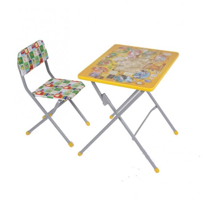 Фея Комплект детской мебели Досуг №301Комплект детской мебели Досуг №301Такой комплект мебели, состоящий из стола и стула, можно поставить в любой комнате. Предназначен он для детей дошкольного возраста.   За столиком удобно готовиться к занятиям в детском саду: рисовать, лепить, писать, складывать буквы и цифры. Внимание ребёнка привлечёт яркая столешница, которая поможет побыстрее освоить буквы и цифры.   Конструкция деревянно-металлическая, металлические элементы имеют стойкую порошковую окраску, абсолютно безопасную для здоровья ребёнка. При разработке конструкций изделий учитывались все анатомические особенности растущего детского организма.  предназначен для кормления, игр и обучения ребенка столешница - ЛДСП с цветной наклейкой легкий мобильный складной Размеры стола: 70х48х58 cм. Размеры стула: 29х37х63 cм. Высота сидения: 34 cм. Вес - 8 кг Максимальная нагрузка на стул - 50 кг Максимальная нагрузка на стол - 40 кг<br>