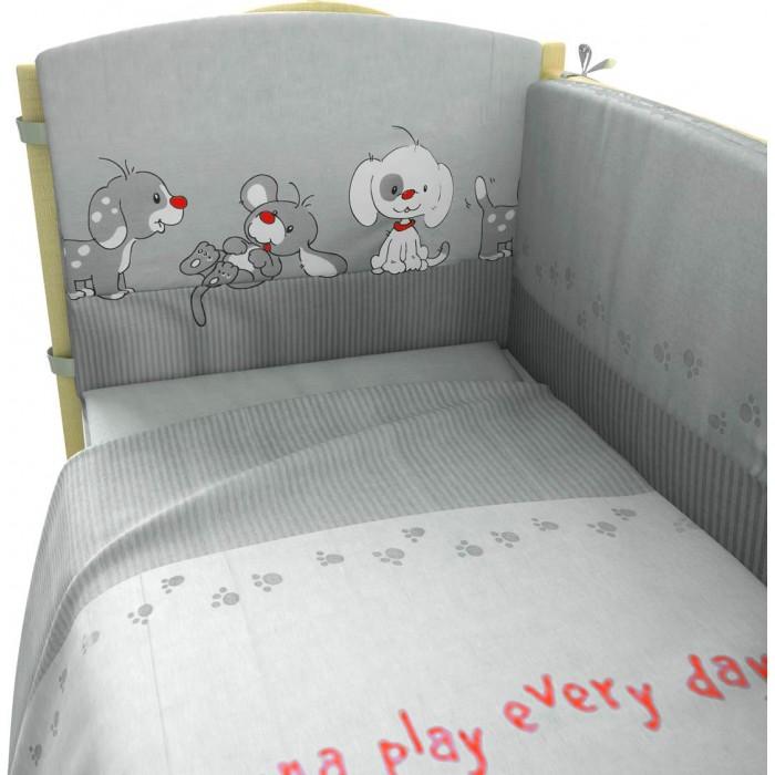 Комплект в кроватку Фея Веселая игра 120х60 (6 предметов)Веселая игра 120х60 (6 предметов)Нежный комплект постельного белья в кроватку Фея Веселая игра из 6 предметов, украшенный изображениями милых собачек, станет настоящим украшением любой детской и подарит малышу много сладких снов.   Белье выполнено из 100% хлопка, наполнитель — холлофайбер.  Комплектация: Борт: 180х35 см Подушка: 40х60 см Одеяло: 110х140 см Наволочка: 40х60 см Простыня: 100х160 см Пододеяльник: 110х140 см<br>