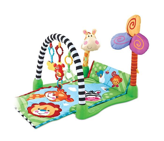 Развивающий коврик FitchBaby Kick &amp; Crawl GymKick &amp; Crawl GymFitch Baby Развивающий игровой коврик для новорожденного Kick & Crawl Gym - создаст уютный уголок для игр вашего малыша, который поможет ему развиваться и познавать мир. Ковриком вы будете пользоваться с момента рождения до полутора лет.  Мягкий развивающий коврик станет для маленького человечка превосходным развлечением и поможет ему быстрее осваивать различные умения и навыки. Сочетание ткани различной фактуры (обычная, ворсистая, атласная) тренирует сенсо-моторику, а яркие цвета и забавные орнаменты радуют глаз.  На дугу с надежным и безопасным креплением можно подвесить до 3-х игрушек (не обязательно только те, которые входят в комплект), хватая и рассматривая которые ребенок будет тренировать глазомер и точность движений. Игрушка изготовлена из высококачественных, абсолютно безопасных, гипоаллергенных материалов.  Мягкие части коврика можно стирать в машине и сушить на воздухе. Пластиковые части - протирать влажной тканью.  Рисунки на ковриках и формы игрушек могут незначительно отличаться от представленных на фотографиях.  Размеры коврика Kick & Crawl Gym: - Длина - 86 см - Ширина - 46 см - Высота игровой дуги - 45 см<br>