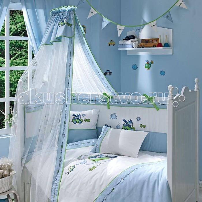 Комплект для кроватки Funnababy Leo Teo (5 предметов)Leo Teo (5 предметов)Комплект для кроватки Funnababy Leo Teo - высококачественное белье, которое изготавливается из 100% хлопка с наполнителем: силикон.   Белье имеет красивый дизайн, оно украсит кроватку и подарит малышу уютный и здоровый сон.   В комплекте:  Пододеяльник - 100х130 см.  Одеяло - 100х130 см.  Бампер по периметру кроватки (съемный чехол)   Простынка на резинке  Наволочка - 40х60 см    Особенности:   комплект постельного белья в детскую кроватку из натурального хлопка  постельное белье подойдёт для детской кроватки размером 125х65 или 120х60 см  в дизайне используется авторская вышивка и декоративное шитьё  спокойные и приятные цвета ткани с забавными рисунками не будут раздражать и утомлять глазки вашего ребёнка  нежные и мягкие материалы не будут раздражать нежную кожу ребёнка и не доставят ему неудобства  постельный комплект изготовлен из натуральных и гипоаллергенных тканей, которые создают комфортные условия для спокойного сна Вашего ребёнка  для наполнения защитного бампера, одеяла и подушки используется только экологически чистый наполнитель  данный комплект имеет 4-х сторонний защитный бампер, который защищает Вашего малыша по всему периметру кроватки  простынь с резинкой, которая помогает надежно закрепить ее на матрасе  белье легко стирается в режиме деликатной стирки при температуре 30&#186;С  комплект постельного белья сертифицирован и абсолютно безопасен для новорождённого малыша<br>