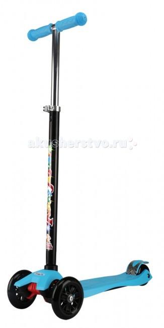 Самокат Funny Scoo Fly MaxiFly MaxiСамокат Funny MS-950 Fly Maxi   Особенности: Вес: 2.6 кг Алюминиевый руль Нейлоновая платформа повышенной прочности: 54х14, 2 см Регулируемая высота руля 67-90 см Колёса: PU два передних 120х30 мм два задних 80/24, жесткость 78А Использование по возрасту: 3+  В комплекте: звонок<br>