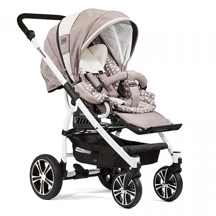 Прогулочная коляска Gesslein F4 Air + накидка на ножкиF4 Air + накидка на ножкиКоляска Gesslein F4 Air обладает удобной износостойкой легкой анодированной алюминиевой рамой весом всего 11.9 кг. Коляска позволит ребенку комфортно чувствовать себя, наблюдая за окружающим миром или во время сна – спинка сиденья раскладывается до положения лежа, а сама коляска максимально просторная внутри. Родители оценят по-достоинству легкую алюминиевую раму и возможность в одно нажатие снять сидение и развернуть его на 180 градусов.   В сочетании с люлькой от Gesslein C3 (не входит в комплект) Вы можете использовать эту коляску с самого рождения малыша, что увеличивает период использования коляски. Коляска также идеально подходит для путешествий, идеально сочетаясь с детскими автокреслами Maxi Cosi (Cabriofix/Pebble) или с автокреслами Romer (Baby Safe Plus SHR). Обращаем Ваше внимание, что автокресла и адаптеры под автокресла или люльку C3 не входят в комплект поставки.  Прогулочный блок: прогулочный блок можно использовать в двух положениях: лицом к маме и наоборот  просторный капюшон имеет большую высоту и глубину конструкция капюшона эффективно защищает внутренний блок с малышом от ветра и холода трехслойный материал капюшона имеет термоизолирующую прокладку для сохранения  встроенные в капюшон: легкосъемный козырек от солнца, смотровое окошко для контроля за ребенком, закрываемая клапаном и тканевой сеточкой вентиляционная отдушина наличие на капюшоне двух карманов для мелочей капюшон имеет съемную тыльную часть для дополнительной вентиляции в особо жаркие дни со встроенной противомоскитной сеткой прогулочный блок оснащается пятиточечными ремнями безопасности с мягкими плечевыми накладками, а также дополнительным, крепящимся на игровую дугу предохранителем от сползания малыша съемная игровая дуга («бампер») имеет регулировку углов наклона, закрыта мягким легкосъемным тканевым чехлом подножка имеет несколько регулировок угла наклона, а также регулируется по длине. Легко снимаетс