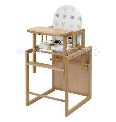 Стульчик для кормления Geuther Nico трансформерNico трансформерВысокий стул-трансформер Geuther Nico Nico может использоваться в качестве полноценного высокого стульчика, а также отдельно или в комбинации со столом. Высокая спинка обеспечивает комфорт для малыша, а столик для игры дает возможность занять ребенка.  Характеристики: выполнен из массива бука окрашен нетоксичными красками на водной основе стульчик для кормления можно использовать для детей с 6 месяцев и до 3-4 лет основа изготовлена из натурального дерева удобный стульчик-трансформер для кормления вашего малыша превращается в стул-стол-парту обладает отличной устойчивостью подходит для спинки ребенка, формируя правильную осанку стульчик очень мобильный столешница стульчика съемная, поэтому по мере взросления Вашего малыша, Вы можете снять поднос и пододвинуть стульчик к общему столу ограничитель между ножек не позволит ребенку выскользнуть мягкое комфортное сиденье клеенчатое покрытие позволит легко содержать стул в чистоте  Размеры: в виде стола и стула (дxшxв): 57x44x92 см в виде высокго стула (дxшxв): 92х44х57 см Вес: 9 кг<br>