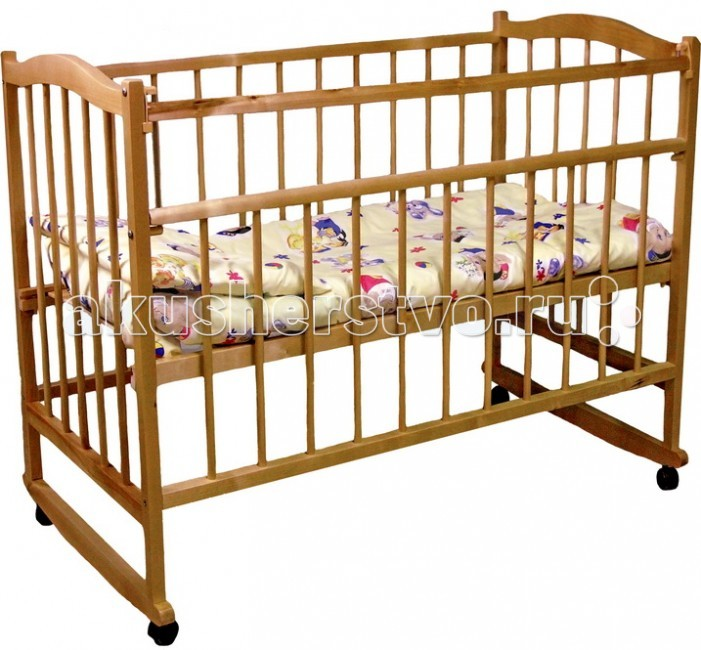 """Детская кроватка Фея 204204Детская кроватка Фея204 изготовлена из натурального материала сбезвредным лакокрасочным покрытием. Имеет прочную, легко собираемую конструкцию. У кроватки имеются колеса, при помощи которых ее просто перемещать по комнате.  При необходимости колеса можно снять и кровать преобразуется в кроватку-качалку.Характеристики:  Два положения ложа  """"УШКО"""" - механизм опускания планки  Колеса  Качалка  Материал: массив березы  Размер ложа: 60х120 cм  Размер в упаковке (вхшхг): 126х72х15см  Размеры в сборке (вхшхг): 126х70х101 см  Вес: 15.4 кг  С инструкцией и комплектацией можно ознакомиться на фото.<br>"""