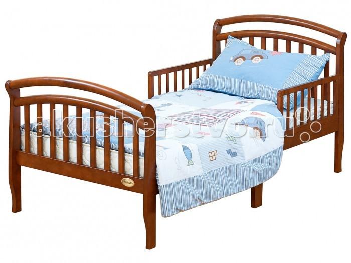 Детская кроватка Giovanni GrandeGrandeДетская кроватка Giovanni Grande  для подросшего ребёнка от 2 лет до 10 лет поможет плавно перейти от сна в кроватке для новорожденного к взрослой кровати.   Изящная кровать с плавными линиями идеально впишется в любой интерьер современной детской комнаты. Съемные защитные бортики с двух сторон уберегут ребенка от падения с кровати во время сна.   Прочная устойчивая конструкция с реечным основанием выполнена из массива экологически чистой новозеландской сосны. Древесина отличается эластичностью, отсутствием сучков, глубиной и красотой структуры дерева.   Для матраса 160х80 см  Предназначена для подросшего ребёнка от 2 до 10 лет  Оптимальная высота от пола до основания - 40см  Идеально вписывается в интерьер современной детской комнаты  Защитные бортики (2 шт.) в комплекте  Материал – массив экологически чистой новозеландской сосны. Древесина отличается эластичностью, отсутствием сучков, глубиной и красотой структуры дерева.<br>