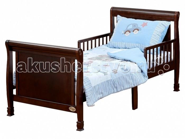 Детская кроватка Giovanni PrimaPrimaЭлегантная детская кровать Prima для подросшего ребёнка от 2 лет до 10 лет поможет плавно перейти от сна в кроватке для новорожденного к взрослой кровати. Изящная кровать с плавными линиями идеально впишется в любой интерьер детской комнаты, а резные ножки и элементы на спинках кровати подчеркнут неповторимый классический стиль и изысканность данной модели. Съемные защитные бортики с двух сторон уберегут ребенка от падения с кровати во время сна. Прочная устойчивая конструкция с реечным ортопедическим основанием выполнена из массива экологически чистой новозеландской сосны.  Древесина отличается эластичностью, отсутствием сучков, глубиной и красотой структуры дерева.   Особенности: - Для матраса 160х80 см  - Предназначена для подросшего ребёнка от 2 до 10 лет  - Оптимальная высота от пола до основания – 40см - Идеально вписывается в интерьер современной детской комнаты - Защитные бортики (2 шт.) в комплекте - Ложе кроватки реечное - Материал – массив экологически чистой новозеландской сосны.  Древесина отличается эластичностью, отсутствием сучков, глубиной и красотой структуры дерева.  - Габаритные размеры (B*Ш*Д) 85х85х174 см<br>