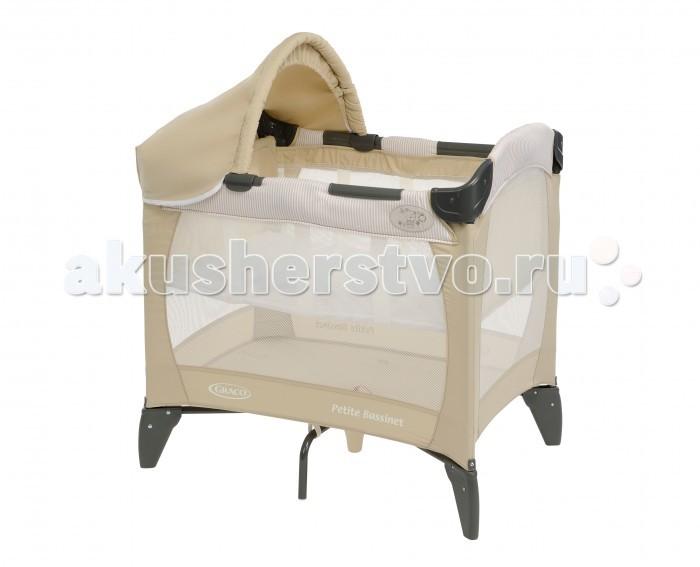 Манеж Graco дорожный Petite Bassinetдорожный Petite BassinetКомпактная дорожная кроватка идеально подойдет для путешествий с малышом. Съемный козырек и солнцезащитный тент, так что можно использовать на улице в загородном доме.  Компактная конструкция и легкие материалы делают эту кроватку мобильной и практичной.  Особенности: Удобный механизм складывания.  Сумка для переноски в комплекте.  Для детей с рождения до 3х лет (0-15 кг).  Колыбель с рождения до достижения веса 6,5 кг.  Размер в разложенном состоянии: 81х56х84 см.  Размер в сложенном состоянии: 23х23х80 см.  Вес 8 кг.  Легкое и удобное перемещение по квартире. Ширина спального места 56 см<br>