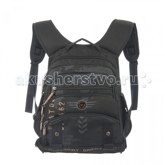 Grizzly Рюкзак RU-501-2Рюкзак RU-501-2Grizzly Рюкзак RU-501-2 выполнен из очень легкой, эластичной ткани высокой прочности. Она устойчива к износу, хорошо стирается и быстро сохнет, сохраняя свою форму.  Особенности: рюкзак школьный  два отделения карман на молнии на передней стенке  объемный карман на молнии на передней стенке боковые карманы с клапанами на липучках  внутренний карман-пенал для карандашей жесткая анатомическая спинка карман быстрого доступа в передней части рюкзака мягкая укрепленная ручка укрепленные лямки.<br>