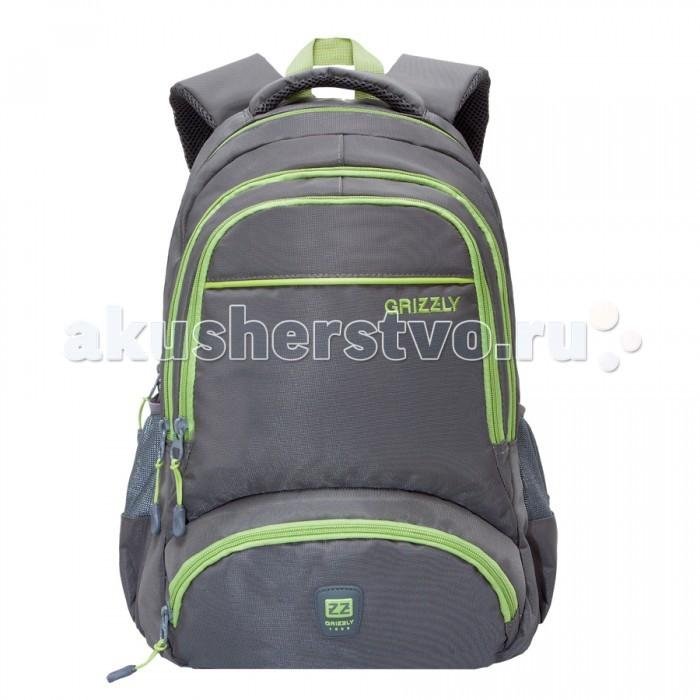 Grizzly Рюкзак RU-618-6Рюкзак RU-618-6Grizzly Рюкзак RU-618-6 выполнен из очень легкой, эластичной ткани высокой прочности. Она устойчива к износу, хорошо стирается и быстро сохнет, сохраняя свою форму.  Особенности: рюкзак молодежный два отделения два объемных кармана на молнии на передней стенке боковые карманы из сетки боковые стяжки-фиксаторы  внутренний карман для ноутбука внутренний подвесной карман на молнии укрепленная спинка укрепленные лямки.<br>