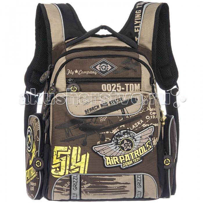 Grizzly Рюкзак школьный RB-631-4Рюкзак школьный RB-631-4Grizzly Рюкзак школьный RB-631-4 выполнен из очень легкой, эластичной ткани высокой прочности. Она устойчива к износу, хорошо стирается и быстро сохнет, сохраняя свою форму.  Особенности: рюкзак молодежный два отделения  карман на передней стенке объемный карман на молнии на передней стенке объемные боковые карманы на молнии внутренний карман на молнии внутренний карман-пенал для карандашей анатомическая спинка мягкая укрепленная ручка укрепленные лямки светоотражающие элементы с четырех сторон.<br>
