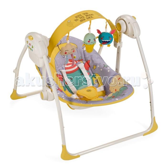 Happy Baby Электрокачели JollyЭлектрокачели JollyЭлектрокачели Happy Baby Jolly  Вашему вниманию представляются кресло-качели Jolly из коллекции MONSTER.   Качели, напоминающие малышу среду, в которой он находился до рождения, помогут ему быстрее адаптироваться к внешнему миру, а также станут отличным помощником матери в уходе за ребенком.   В качельках Jolly малышу будет уютно, тепло, безопасно и весело. Таймер на 10, 20 и 30 минут даст матери время для решения насущных бытовых вопросов. Три скорости укачивания позволят подобрать оптимальный вариант в зависимости от того, спит малыш или бодрствует. Восемь мелодий с возможностью регулировки громкости и съемная регулируемая дуга с игрушками не дадут ребенку скучать.   Работают качели от батареек (тип С, 4 штуки) или от сети через адаптер.  Возраст: от 0 месяцев Максимальный вес ребенка: 9 кг Вес качелей: 4 кг Ширина сиденья: 21 см Глубина сиденья: 32 см Длина спального места: 78 см  Характеристики:  Габариты в разложенном виде ДхШхВ: 68х64х57см Габариты в сложенном виде ДхШхВ: 26х64х63см 5-точечные ремни безопасности Наклон кресла: 2 положения Съемная дуга со съемными игрушками Дуга регулируется по высоте и наклону 3 скорости качания 8 мелодий с возможностью регулирования громкости Установка таймера со светодиодной подсветкой на 10, 20 и 30 минут Возможность работы от батареек (требуется 4 батарейки типа С) и от адаптера Легко складываются  Состав: Каркас: пластик, металл Тканые материалы: 100% полиэстер  Инструкция по уходу:  Каркас: периодически очищайте пластиковые части влажной тканью. Не пользуйтесь растворителями и схожими веществами.  Тканые материалы: протирайте влажной губкой с мыльным раствором, не пользуйтесь моющими средствами. Не выкручивайте, не отбеливайте, не сушите в стиральной машине, не гладьте.<br>