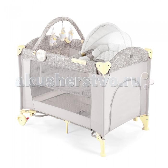 Манеж Happy Baby Lagoon V2Lagoon V2Манеж Happy Baby Lagoon V2 - это модель манежа 3 в 1: манеж-кроватка со вторым дном; шезлонг-качалка; манеж для игр.  На манеж быстро устанавливается второе дно при помощи застежки-молнии, благодаря чему, он превращается в кроватку, в которой малыша можно будет легко и с комфортом укачивать. Укачивание обеспечивают две съемные дуги по обеим сторонам манежа, поверхность которых защищена силиконовыми накладками для мягкого и тихого укачивания. Внимание малыша привлечет дуга с игрушками, которые можно легко снять и постирать, или заменить другими развивающими игрушками. Также в комплект Lagoon V2 входит шезлонг-качалка для новорожденного.   Шезлонг легко устанавливается на бортики манежа, и в данном положении его можно использовать как пеленальный столик. Шезлонг оснащен крышей для защиты малыша от солнечных лучей, трехточечными ремнями безопасности для надежной фиксации, а также съемным матрасиком с мягкими бортиками. В случае, если малыша нужно укачать, шезлонг можно снять с манежа, разложить дуги для качания и расположить ребенка в удобном месте для засыпания. Удобный легкий шезлонг-качалка освободит руки и время маме, делая совместное пребывание обоих спокойным и комфортным.  Для деток постарше манеж легко превратится в большое игровое пространство с лазом на молнии и карманом для игрушек с внешней стороны. Достаточно снять второе дно, убрать шезлонг и сложить дуги для укачивания на манеже. Наличие москитной сетки в комплекте дает возможность использовать манеж на свежем воздухе, вне периметра домашнего пространства.  Благодаря легкому алюминиевому каркасу и двум колесам, манеж можно без труда перемещать по дому, при переездах легко складывается в удобную сумку для переноски.  Особенности: Боковой карман для мелочей 2 колеса для удобства перемещения Шезлонг-качалка трансформируется в пеленальный столик Кровать-манеж оснащен съемными дугами-качалками  Максимальный вес ребенка для кровати-манежа: 14 кг Максимальный вес ребенка для ш
