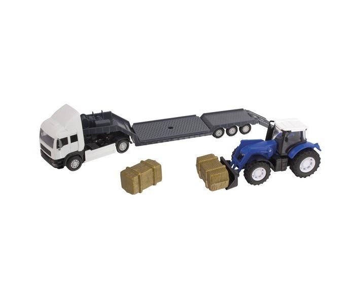 Roadsterz Фермерский грузовой автомобильФермерский грузовой автомобильФермерский грузовой автомобиль от британского бренда HTI – это не просто очередная машинка в игрушечном гараже мальчишки. Это масштабная модель настоящего автомобиля.   Высокая степень детализации, реалистичные цвета сделают ролевую игру наиболее увлекательной и познавательной для малыша от 3 лет. Кроме того, такой игровой набор сможет занять достойное место на полке коллекционера моделей.  Набор состоит из грузовика для перевозки техники, трактора, который предстоит перевозить и дополнительных материалов для транспортировки.<br>