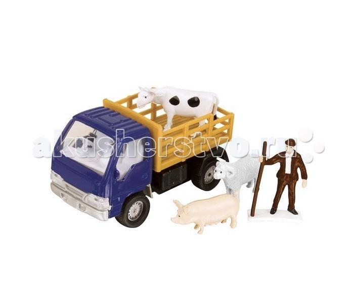 Roadsterz Фермерский набор для перевозки животныхФермерский набор для перевозки животныхРебенок побывал в деревне у бабушки и теперь в восторге от всего, что связано с сельской местностью? Или Вы просто хотите расширить кругозор городского мальчугана?   Игровой комплект «Фермерский набор для перевозки животных» от британского бренда HTI – отличный вариант для обеих ситуаций!  Маленькая копия грузовичка с прицепом в масштабе 1:60 рекомендуется для игры деткам с 3 лет, однако порадует и опытного коллекционера различных транспортных средств.   Высокая степень детализации возможна благодаря использования высококачественных материалов при создании игрушки. В наборе фигурки погонщика и животных.<br>