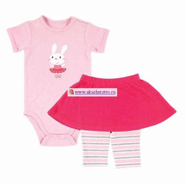 Hudson Baby Боди и юбка-леггинсы (2 предмета)Боди и юбка-леггинсы (2 предмета)Комплект Боди и юбка-леггинсы Hudson Baby  Комплект для новорождённой включает: боди с коротким рукавом и юбку-леггинсы.   Комплект выполнен в разных оттенках розового цвета, на боди - симпатичная аппликация в виде Зайки.   Леггинсы с полосатым принтом удобно сидят, не сдавливая и не доставляя дискомфорта.  Яркая юбочка - стильное дополнение!  Состав материала: боди - 100% хлопок, юбка-леггинсы - 96% хлопок, 4% спандекс  Предварительная стирка обязательна.  Стирка при t не более 40С.  Гладить при t не более 110С.  Сухая чистка запрещена.  Сушка в барабане при более низкой t.  Отбеливать без хлора<br>