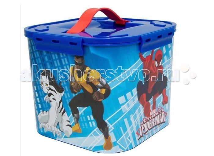 Idea (М-Пластика) Контейнер для детских принадлежностей Человек паук 7 лКонтейнер для детских принадлежностей Человек паук 7 лIdea (М-Пластика) Контейнер для детских принадлежностей Человек паук 7 л с крышкой.  Особенности: Контейнер украшен яркими картинками, изготовлен из экологически чистого пластика.  Контейнер с крышкой, удобный и вместительный, легкий и компактный. Ребенок сможет самостоятельно складывать в контейнер свои игрушки, одежку. Крышка контейнера с мягкой ручкой на замках.  Размер 23х23х18 см.<br>