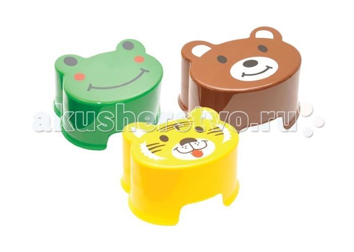 Idea (М-Пластика) Табурет-подставка ЗверятаТабурет-подставка ЗверятаIdea (М-Пластика) Табурет-подставка Зверята удобный и легкий.   Удобно переносится по квартире.  На фасаде изображения животных: медвежонок, тигренок или лягушонок.  Размер: 32х17х25 см<br>