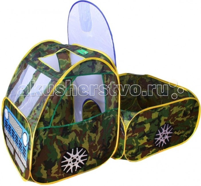 Игралия Палатка Машина 3305-1A/3305AПалатка Машина 3305-1A/3305AИгровая палатка Военная машина и Красная машина 3305-1A/3305A (на выбор).  Каждая деталь на пружинном самораскладывающемся каркасе, детали соединяются с помощью липучек.  Кабина без дна: по бокам и сверху отверстия-окошки спереди окошки забраны сеточкой сзади круглое отверстие (диаметр 35 см) для жесткости формы сверху в специальный длинный кармашек на липучке вставляется пластиковая трубочка. Кузов: дна нет круглое отверстие (диаметр 35 см) для залезания в кабину деталь с баскетбольной корзиной сетчатая, корзина подвешена.  В комплект входит: - передняя деталь - кабина машины - задняя деталь - кузов - деталь с баскетбольной корзиной  Материал: нейлон, металл  Размер игрушки:  кабина - 67 х 67 х 87h см кузов - 80 х 77 х 44h см деталь с баскетбольной корзиной - 67 х 76h см диаметр корзины 14 см.<br>