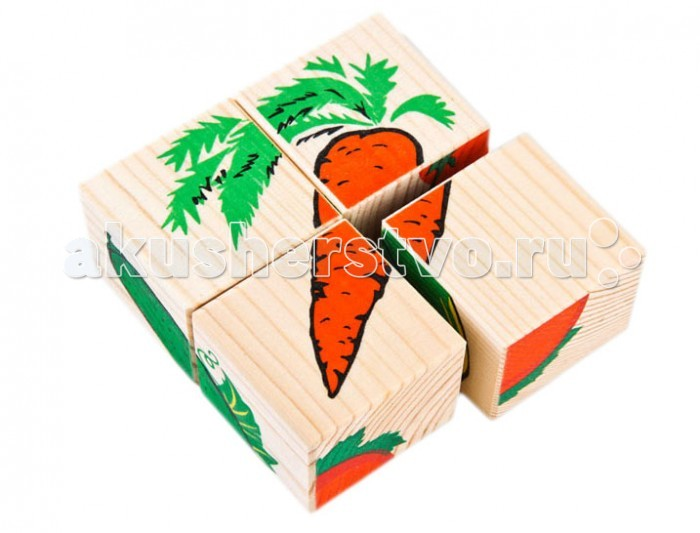 Деревянная игрушка Томик Кубики Овощи 4 шт.Кубики Овощи 4 шт.Кубики Овощи из серии Сложи рисунок позволят малышу собрать шесть картинок с изображением различных овощей. Кроме того, деревянные кубики с картинками можно запросто использовать как конструктор — строить домики, башни и крепости — фантазия ребенка не будет ограничена ничем.  Кубики изготовлены из надёжного, экологически чистого, прочного материала — древесины хвойных пород. Удобные по размеру грани кубика (4 см) позволяют играть в них даже самым маленьким. Деревянные кубики стойки к повреждениям и износу и будут служить много лет, а нанесённые способом шелкографии рисунки — не поблекнут и не сотрутся с годами.  Игра с кубиками развивает зрительное восприятие, наблюдательность и внимание, мелкую моторику рук и произвольные движения. Ребенок научится складывать целостный образ из частей, определять недостающие детали изображения.  Размер кубика: 4 см x 4 см x 4 см. Размер упаковки: 9 см х 9 см х 4 см. Упаковка: коробка.<br>