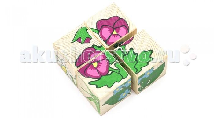 Деревянная игрушка Томик Кубики Цветы 4 шт.