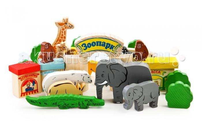 Деревянная игрушка Томик Конструктор Зоопарк 44 деталейКонструктор Зоопарк 44 деталейКонструктор Зоопарк 44 деталей - набор для ролевой игры детей. Разнообразные элементы удобно помещаются в маленькой ручке ребёнка. Придумывая сюжеты для игр, ребёнок развивает воображение, связную речь, овладевает навыками ролевого поведения.<br>