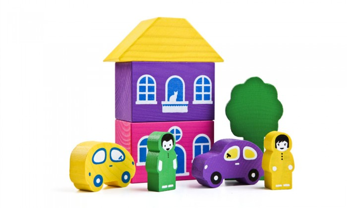 Деревянная игрушка Томик Конструктор Цветной городок фиолетовый 8 деталей