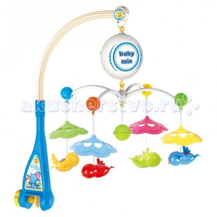 Мобиль Baby Mix Птички с зонтикамиПтички с зонтикамиМобиль Птички с зонтиками - это яркая музыкальная каруселька на кроватку, с которой малыш никогда не будет скучать. Симпатичные игрушки, медленное вращение игрушек, приятная музыка, возможность подсветки - вот отличительные черты этой игрушки.  Особенности: музыкальное сопровождение карусельки ребенок учится следить за подвесными игрушками у малыша активно и в максимально естественной форме развивается зрение кроха получает представление о пространственном положении предметов музыкальное сопровождение развивает слух ребенка разно-фактурные элементы помогут развить мелкую моторику и сенсорику<br>