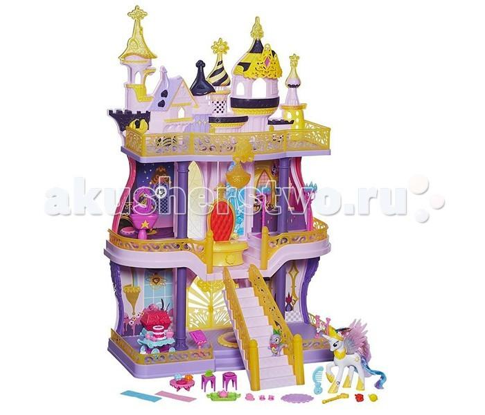 My Little Pony Hasbro Замок КантерлоHasbro Замок КантерлоMy Little Pony Hasbro Замок Кантерлот. Фантастический королевский замок Кантерлот от компании HASBRO (Хасбро) впечатлит каждую поклонницу любимой всеми девочками анимационной сказки Дружба – это чудо! (My Little Pony), поможет погрузится в волшебную атмосферу вымышленной страны Эквестрии, в которой правят верная дружба, искренняя любовь и, конечно же, магия!  В распоряжении хозяйки дворца, небесной пони принцессы Селестии, целых три этажа с различными комнатами, тронным залом и балконом с роскошной балюстрадой.  В набор Май Литл Пони входит более сорока различных аксессуаров! Мебель, светильники, предметы обихода, которые ребёнок может расставлять по комнатам замка так, как подскажет ему воображение! Это настоящий рай для юного декоратора!<br>
