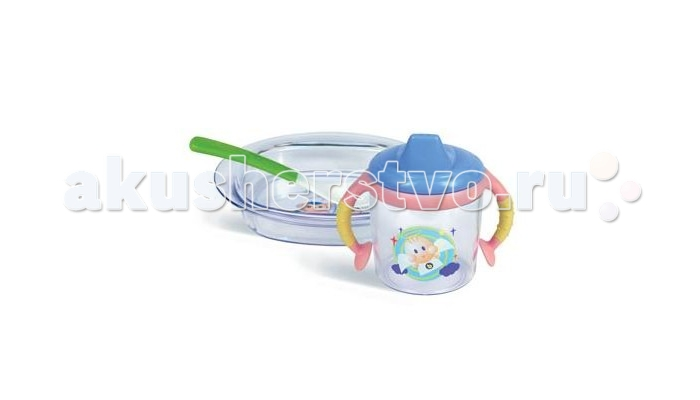 Сказка Набор посуды 2813Набор посуды 2813Набор посуды Сказка — очень практичная и нужная вещь как для малыша, так для молодых родителей.  Длинная ручка ложечки делает процесс кормления проще и легче. Ложкой удобно доставать детское питание из баночек любого размера.  Модель изготовлена из специального пластика, который не раздражает нежные десны ребенка и оснащена силиконовым наконечником.  В комплект входит: прозрачная тарелка с забавным узором ложечка яркого цвета прозрачная поилочка 240 мл с цветной крышечкой и ручками с антискользящим покрытием  На всем сервизике изображены забавные мультяшки. Весь комплект посуды сделан из прочного пластика и если малыш его уронит, то он не разобьется.  Цвета в ассортименте.<br>